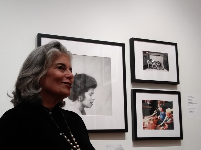 Veronica Vera at Leslie Lohman Museum, 2019. I'm standing in front of my portrait by Robert Mapplethorpe (1982); Club 90 Porn Star Support Group (Sue Nero, Kelly Nichols, Gloria Leonard, Annie Sprinkle, Jane Hamilton, Veronica Vera, Candida Royalle) by Dona McAdams (1984), and testifying for freedom of expression with Seka in Washington D.C. by Annie Sprinkle (1984).